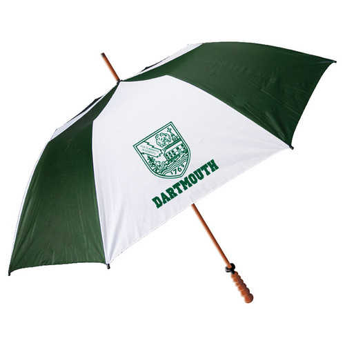 Green and white golf umbrella with Dartmouth shield and 'Dartmouth' in green