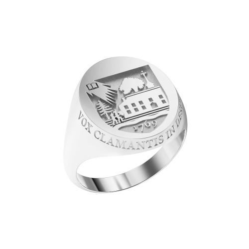 Ring Oval Large Shield Sterling Silver with Outer Text
