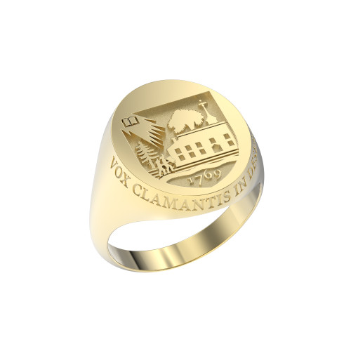 Ring Oval Large Shield 14K Gold with Outer Text