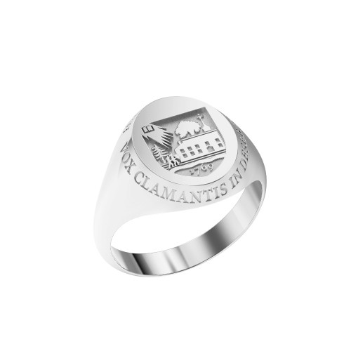 Ring Oval Small Shield Sterling Silver with Outer Text