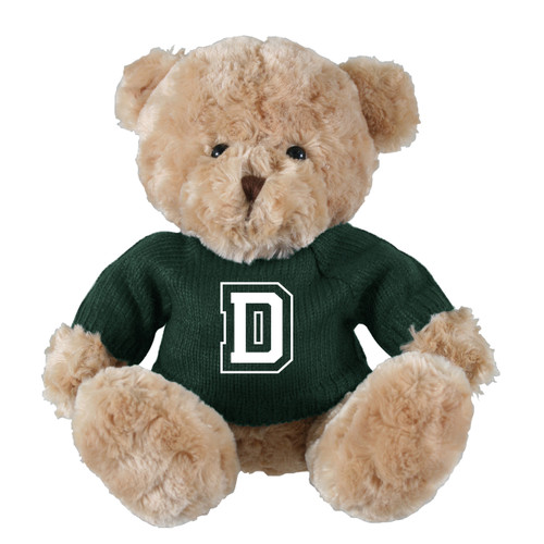 Brown teddy bear with green sweater and 'D' across the chest in green and white