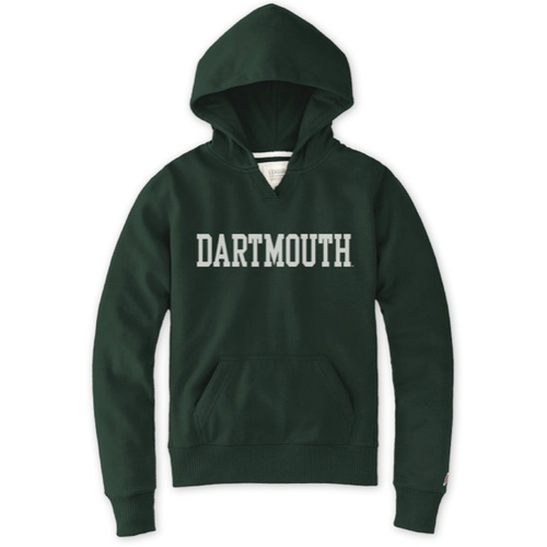 Women's green hooded sweatshirt with DARTMOUTH across chest in white