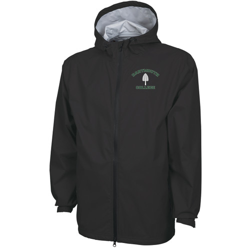 Men's black full zip hooded jacket with 'Dartmouth College' in green and lone pine in white on left