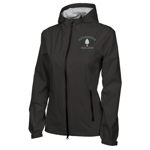 Women's black full zip hooded jacket with 'Dartmouth College' in green and lone pine in white