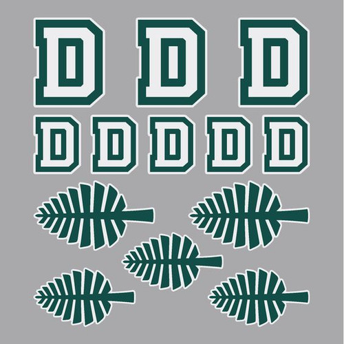 Removable 'D' and lone pine stickers in green and white