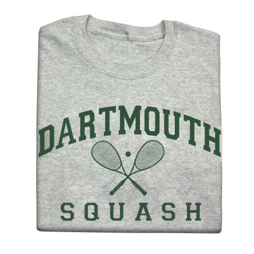 Grey short sleeve tee with arched 'Dartmouth Squash' across the chest