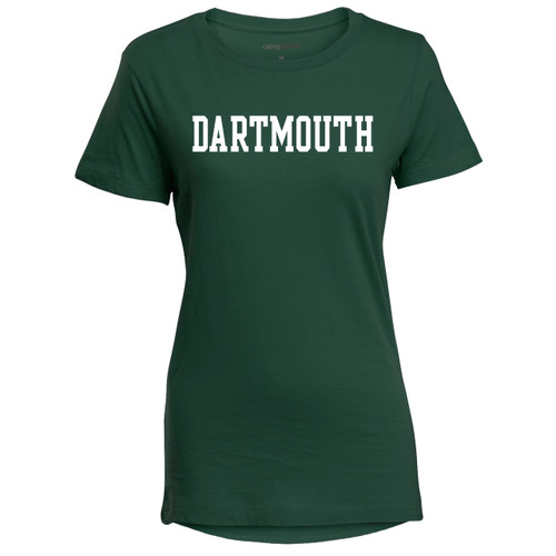 Women's green short sleeve tee with 'Dartmouth' across chest in white