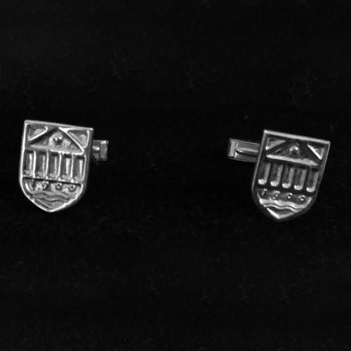Tuck Shield Cufflinks - Sterling Silver
