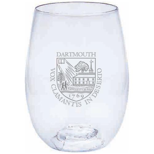 Plastic clear stemless wine glass with Dartmouth shield in the center