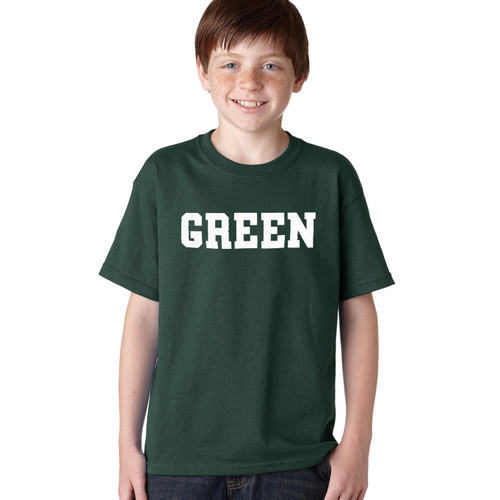 Youth green short sleeve tee with 'Green' across the chest in white
