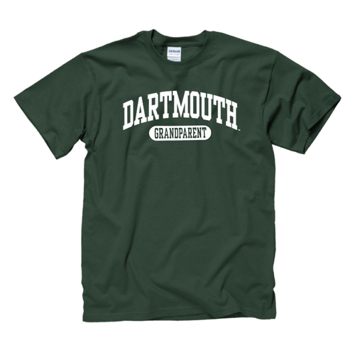 Green short sleeve tee with 'Dartmouth Grandparent' across the chest in white