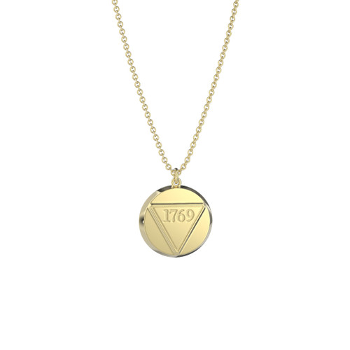 10K Yellow Gold Round 1769 Founder's Pendant Necklace