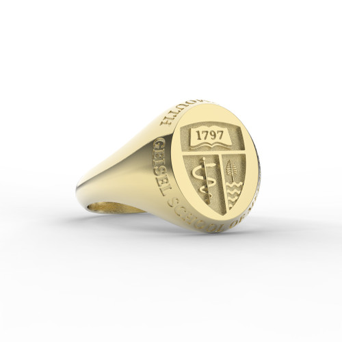 Geisel Ring Oval Small Shield 14K with Outer Text
