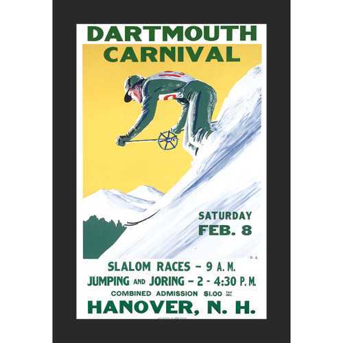Framed 1936 Winter Carnival Poster #2 Skier