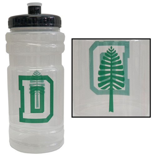 Clear plastic water bottle with 'D' on one side and lone pine on the other in green