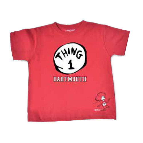 Toddler red short sleeve tee with 'Thing 1' and 'Dartmouth' in black