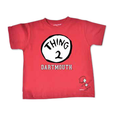 Toddler red short sleeve tee with 'Thing 2' and 'Dartmouth' in black