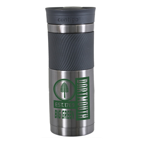 Travel tumbler with lone pine and 'Dartmouth est. 1769 big green' in green