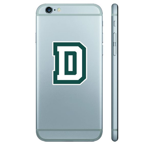 Removable 'D' mini decal in green and white