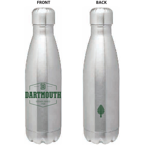 Grey water bottle with 'D DARTMOUTH ESTABLISHED 1769' in green on one side and Lone Pine symbol in green on other side