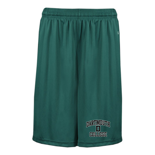 Youth green shorts with 'Dartmouth D College' on left leg in black and white