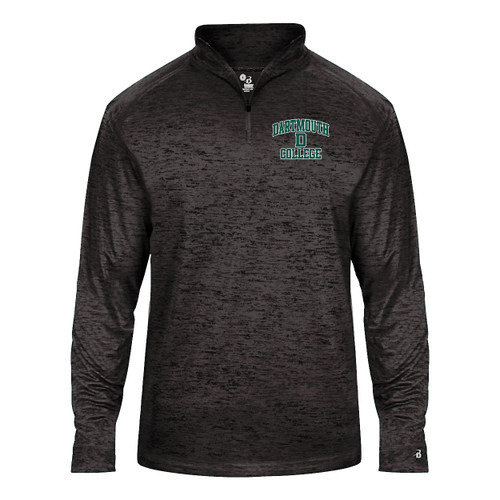 Youth grey 1/4 zip sweatshirt with 'Dartmouth D College' on left side in green and white