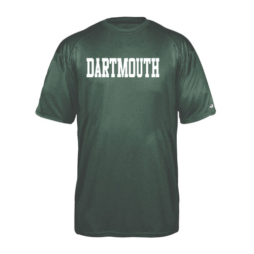 Youth green short sleeve tee with 'Dartmouth' across the chest in white