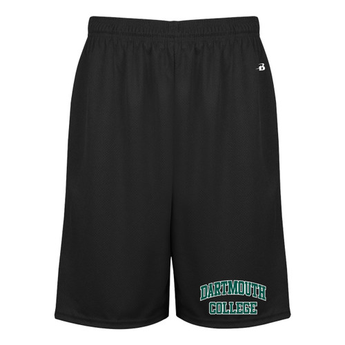 Men's black athletic shorts with 'Dartmouth College' on the left leg in green and white