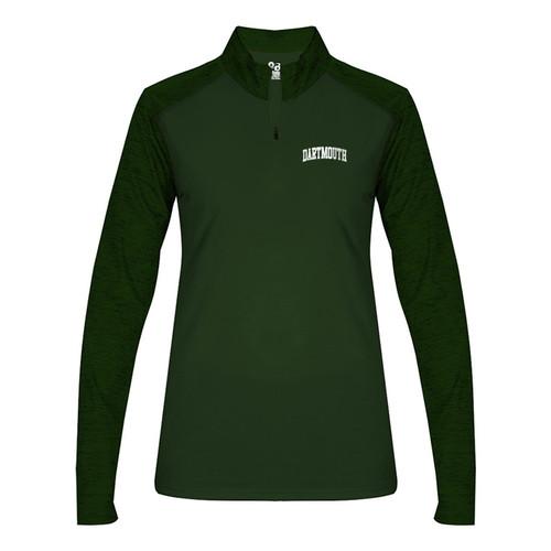 Women's green 1/4 zip sweatshirt with 'Dartmouth' on left side in white