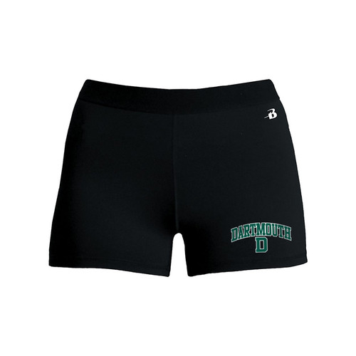 Women's black compression short with 'Dartmouth D' on left leg in green and white