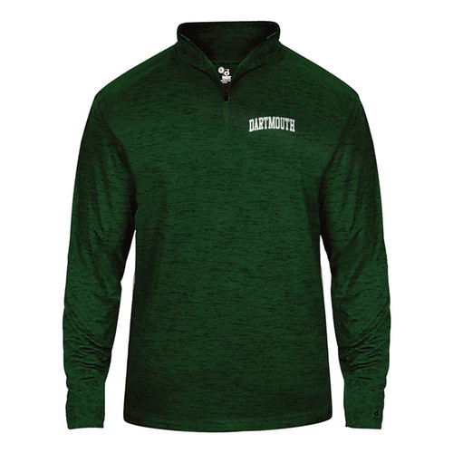 Men's green 1/4 zip sweatshirt with arched 'Dartmouth' on left in white