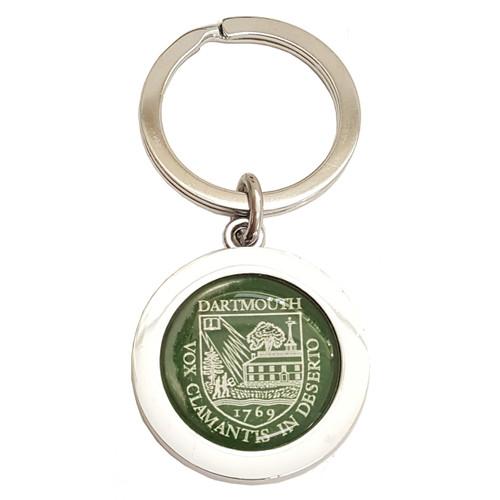 Round Dome Shield Green Keychain Dartmouth