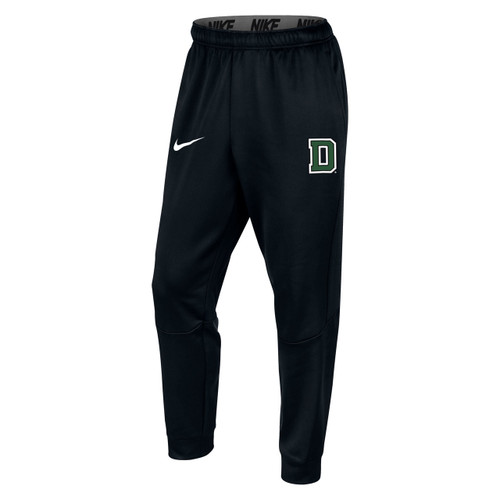 Men's Nike black sweatpant with white Nike swoosh on the right leg and green and white 'D' on left leg