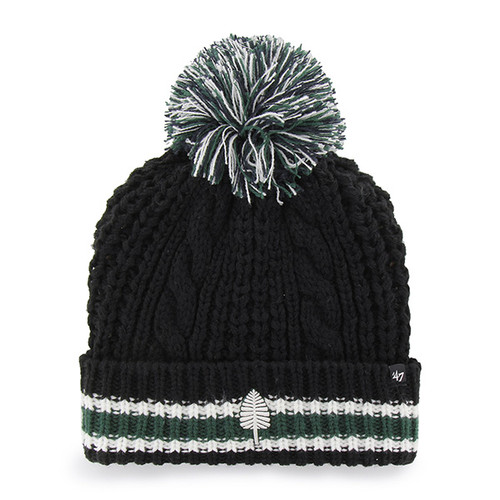 Black winter hat with green 'Lone Pine' on brim with a green stripe and a big pom pom on top