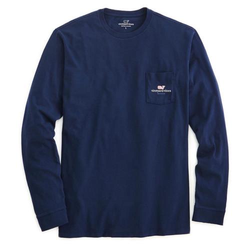 Men's blue vineyard vines long sleeve tee with pocket and vineyard vines logo on left side