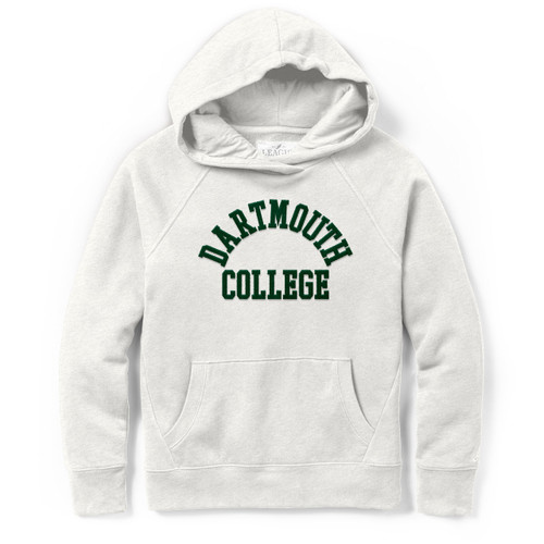 Women's oatmeal beige hooded sweatshirt with arched 'Dartmouth College' across chest in green