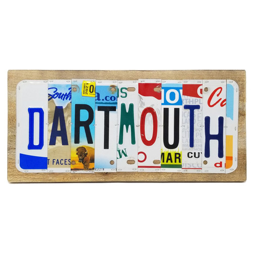 'Dartmouth' sign made out of different license plates