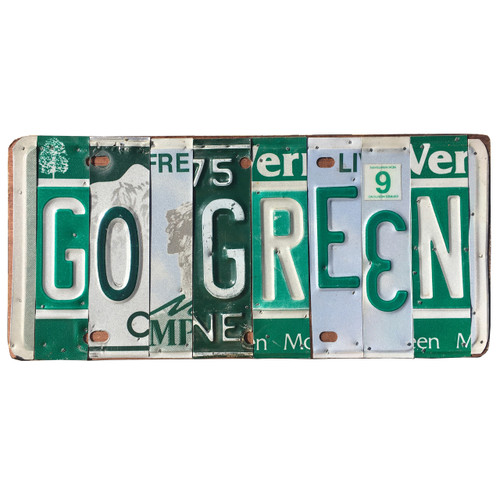 'Go Green' sign made out of different license plates