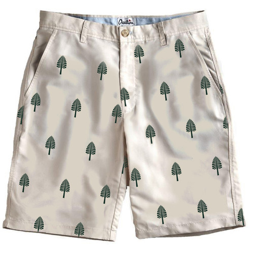 Men's khaki shorts with the lone pine logo in green