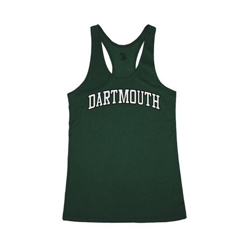 Women's green racerback tank with arched 'Dartmouth' across the chest in green and white and green
