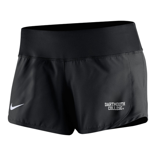 Women's Nike athletic short with  Nike swoosh on right leg and 'Dartmouth College' on left leg in white