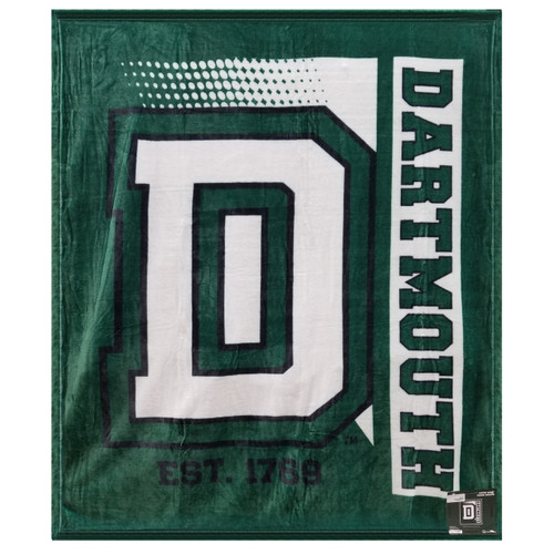 Green and white blanket with big 'D' in the center and 'Dartmouth' down the left side