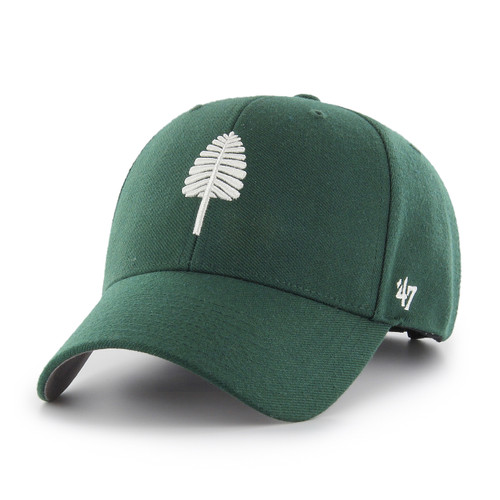 Green baseball hat with white lone pine logo