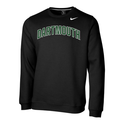 Men's Nike black crew neck sweatshirt with 'Dartmouth' across chest in green and Nike logo on left in white