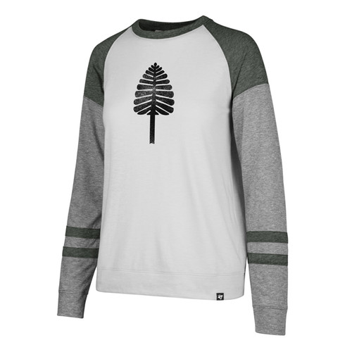 Women's green, grey, and white long sleeve tee with lone pine across chest in green