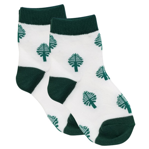 Toddler green and white lone pine socks