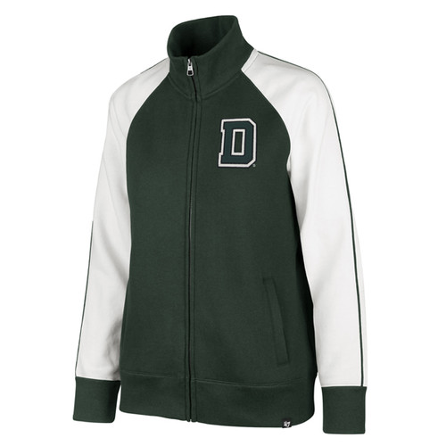 Women's green and white full zip jacket with big 'D' on the left side of chest
