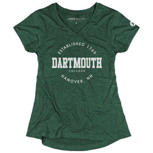 """Women's green V-neck short sleeve tee with """"Established 1769 Dartmouth College Hanover NH' across the chest in white"""