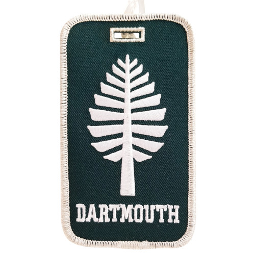 Green luggage tag with lone pine and 'Dartmouth' in white