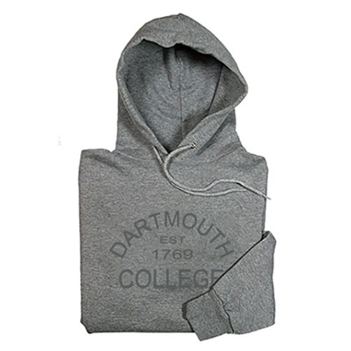Grey hooded sweatshirt with 'Dartmouth Est 1769 College across the chest